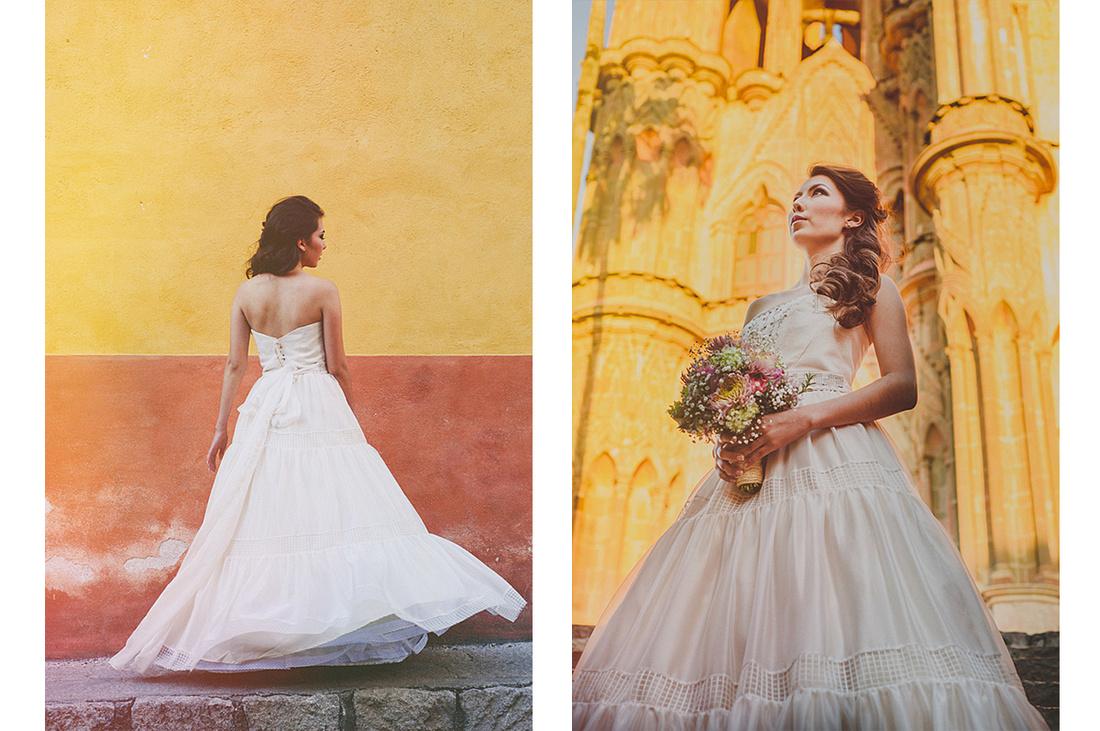 Un vestido de novia en el centro de san miguel